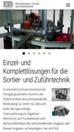Vorschau der mobilen Webseite www.isb.info, ISB Automatisierung
