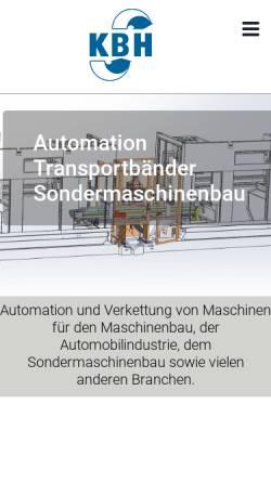 Vorschau der mobilen Webseite www.kbh-maschinenbau.de, KBH Produktions-Automation GmbH & Co. Vertriebs-KG