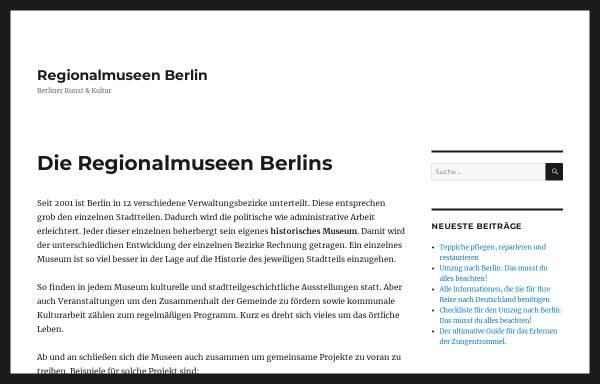 Vorschau von www.regionalmuseen-berlin.de, Berliner Regionalmuseen