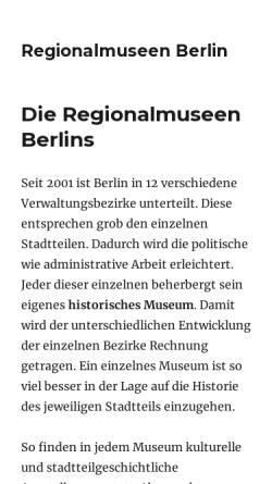 Vorschau der mobilen Webseite www.regionalmuseen-berlin.de, Berliner Regionalmuseen