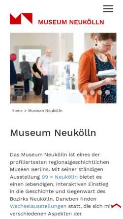 Vorschau der mobilen Webseite www.museum-neukoelln.de, Heimatmuseum Neukölln
