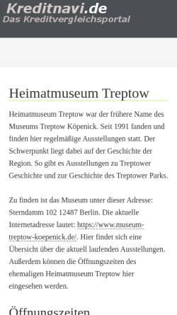 Vorschau der mobilen Webseite www.heimatmuseum-treptow.de, Heimatmuseum Treptow