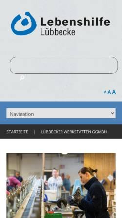 Vorschau der mobilen Webseite www.luebbecker-werkstaetten.de, Lübbecker Werkstätten gemeinnützige GmbH