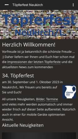 Vorschau der mobilen Webseite www.toepferfest.de, Töpferei Lehmann Neukirch/Sa.