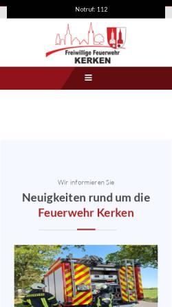 Vorschau der mobilen Webseite www.feuerwehr-aldekerk.de, Freiwillige Feuerwehr Kerken - Aldekerk