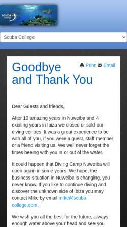 Vorschau der mobilen Webseite www.scuba-college.com, Diving Camp Nuweiba