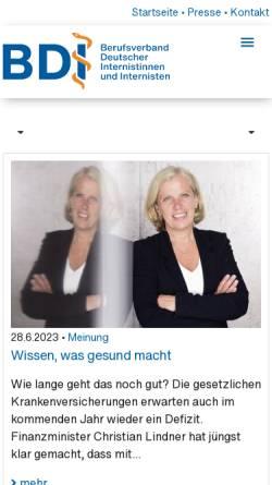 Vorschau der mobilen Webseite www.bdi.de, Berufsverband Deutscher Internisten (BDI)