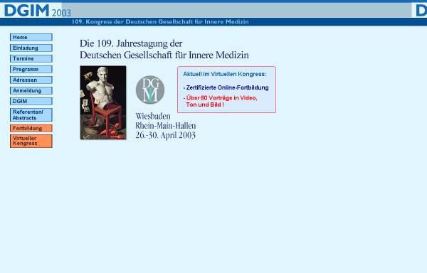 Vorschau von www.dgim2003.de, 109. Kongress der Deutschen Gesellschaft für Innere Medizin 2003