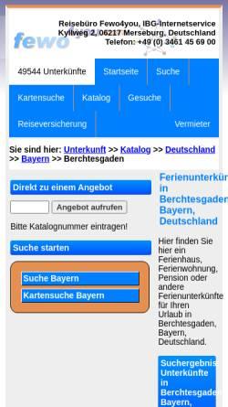 Vorschau der mobilen Webseite www.fewo4you.com, Gastgeberverzeichnis Berchtesgaden