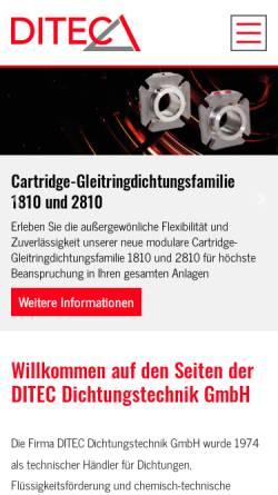 Vorschau der mobilen Webseite www.ditecgmbh.de, Ditec Dichtungstechnik GmbH