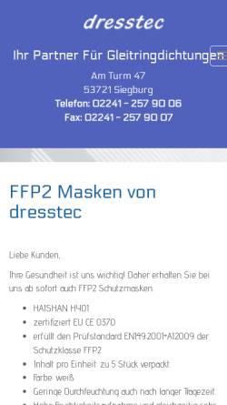 Vorschau der mobilen Webseite www.dresstec.de, Dresstec, Inh. Willi Dreßen