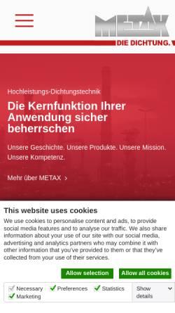 Vorschau der mobilen Webseite www.metax-gmbh.de, Metax Kupplungs- und Dichtungstechnik GmbH