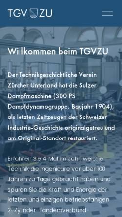 Vorschau der mobilen Webseite www.tgvzu.ch, Zürich, Gasimuseum