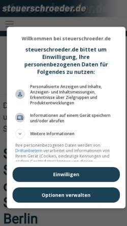 Vorschau der mobilen Webseite www.steuerschroeder.de, Steuerberater Michael Schröder