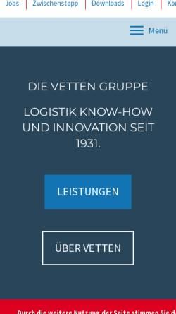 Vorschau der mobilen Webseite www.vetten-online.de, Gebr. Vetten Transporte GmbH & Co.
