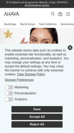 Vorschau der mobilen Webseite www.ahava.de, AHAVA Cosmetics GmbH