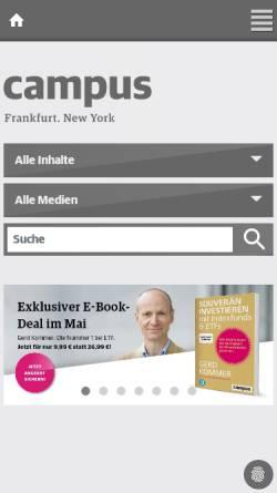 Vorschau der mobilen Webseite www.campus.de, Campus Verlag, Inh. Thomas Carl Schwoerer