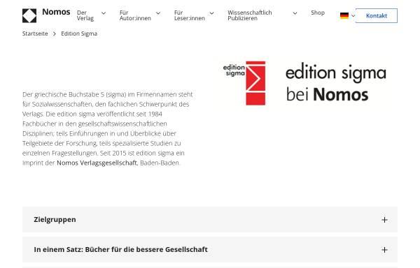 Vorschau von www.edition-sigma.de, Edition Sigma e.K.