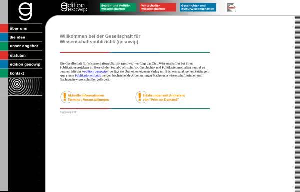 Vorschau von www.gesowip.ch, Gesellschaft für Wissenschaftspublizistik