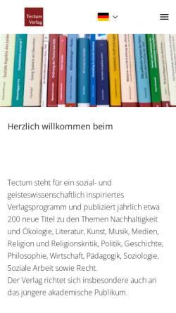 Vorschau der mobilen Webseite www.tectum-verlag.de, Tectum Verlag