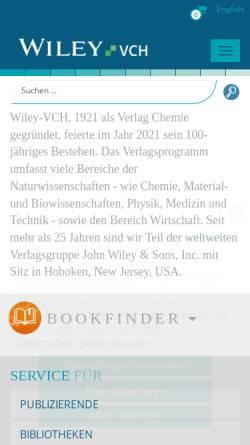 Vorschau der mobilen Webseite www.wiley-vch.de, Wiley-VCH Verlag GmbH & Co. KGaA