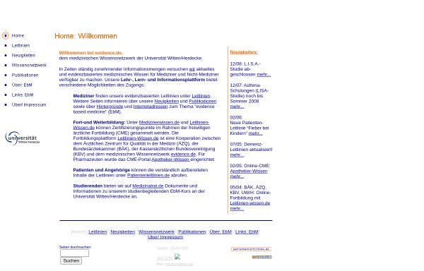 Vorschau von www.evidence.de, Medizinerwissen.de