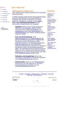 Vorschau der mobilen Webseite www.evidence.de, Medizinerwissen.de