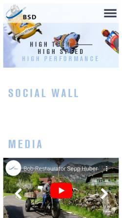 Vorschau der mobilen Webseite www.bsd-portal.de, Bob- und Schlittenverband für Deutschland e.V.
