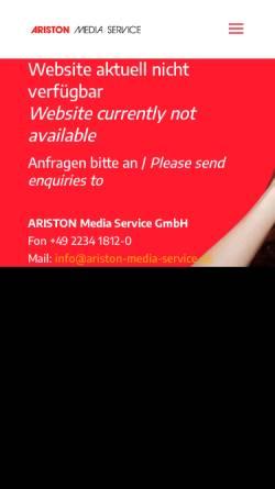 Vorschau der mobilen Webseite www.ariston-media-service.de, Ariston Media Service GmbH