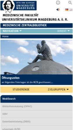 Vorschau der mobilen Webseite www.med.uni-magdeburg.de, Medizinische Zentralbibliothek Magdeburg