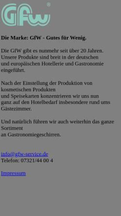Vorschau der mobilen Webseite www.gfw-service.de, GFW Gesellschaft für Fremdenverkehrswerbung mbH