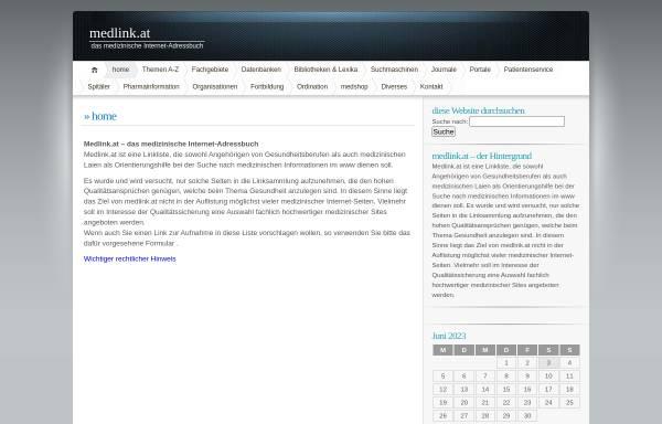 Vorschau von www.medlink.at, Medizinisches Internet-Adressbuch für Ärzte und Laien