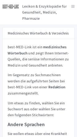 Vorschau der mobilen Webseite best-med-link.de, Medizin-Links nach Themen und Stichworten [best-med-link.de]