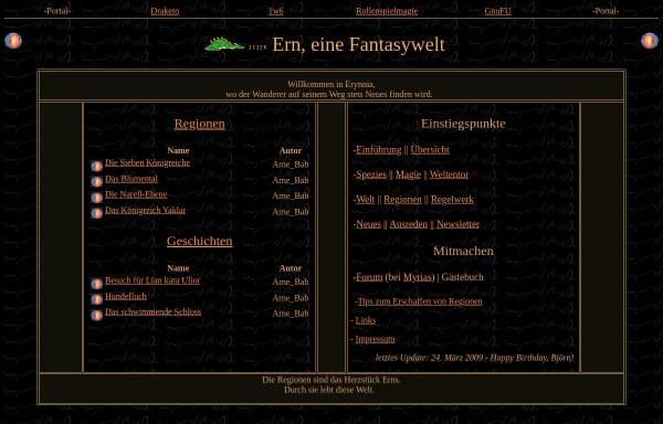 Vorschau von erynnia.de, Ern, eine Fantasywelt