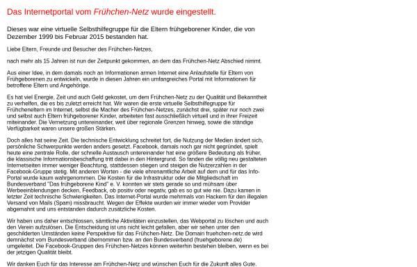 Vorschau von www.fruehchen-netz.de, Frühchen-Netz - Portal für die Eltern frühgeborener Kinder