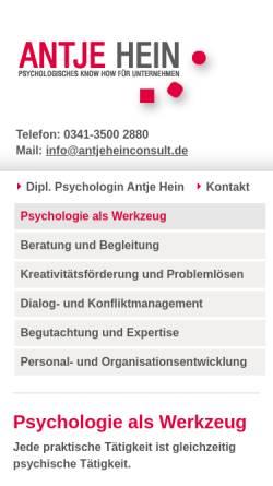 Vorschau der mobilen Webseite www.antjeheinconsult.de, Dipl.-Psychologin Antje Hein