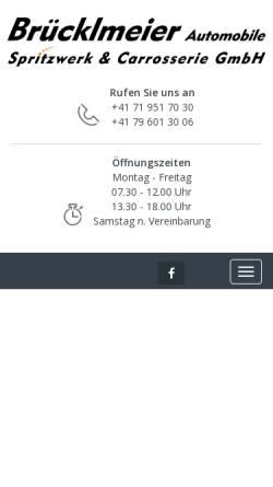 Vorschau der mobilen Webseite www.bruecklmeier.ch, Garage Brücklmeier - Spritzwerk & Automobile