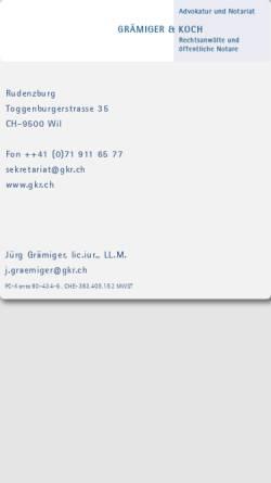 Vorschau der mobilen Webseite www.gkr.ch, Grämiger & Koch Rechtsanwälte