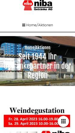 Vorschau der mobilen Webseite www.niba.ch, Niba Getränke AG