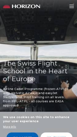 Vorschau der mobilen Webseite www.horizon-sfa.ch, Horizon Swiss Flight Academy