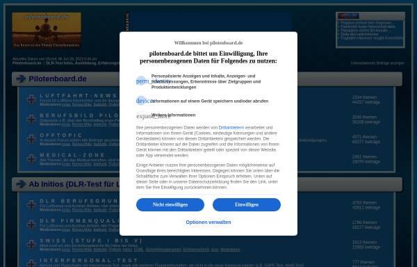 Vorschau von www.pilotenboard.de, Informationen über Einstellungstests für Piloten und Fluglotsen