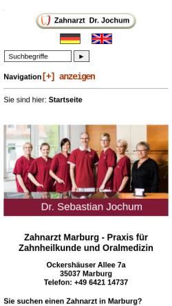 Vorschau der mobilen Webseite www.zahnarzt-dr-jochum.de, Zahnärztliche Gemeinschaftspraxis Dr. Christoph Jochum & Dr. Sebastian Jochum