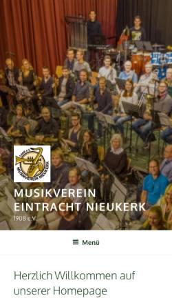 Vorschau der mobilen Webseite www.musikverein-nieukerk.de, Musikverein Eintracht Nieukerk 1908 e.V.