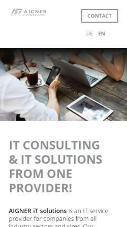 Vorschau der mobilen Webseite www.aigner-itsolutions.de, Aigner iT solutions - Simon Aigner