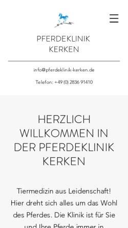 Vorschau der mobilen Webseite www.pferdeklinik-kerken.de, Pferdeklinik Kerken