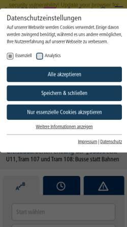 Vorschau der mobilen Webseite www.evag.de, Essener Verkehrs-AG (EVAG)