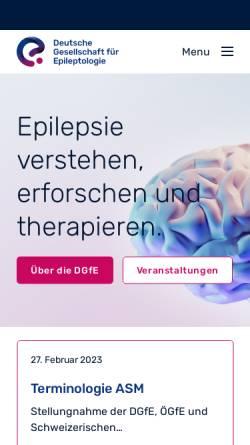 Vorschau der mobilen Webseite www.dgfe.info, Deutsche Gesellschaft für Epileptologie