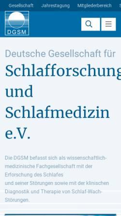 Vorschau der mobilen Webseite www.dgsm.de, Deutsche Gesellschaft für Schlafforschung und Schlafmedizin