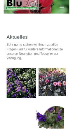 Vorschau der mobilen Webseite www.bludo.de, Blu Do Gartenbaubedarf Handels - GmbH