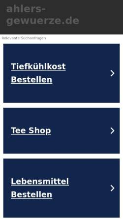 Vorschau der mobilen Webseite www.ahlers-gewuerze.de, Ahlers Gewürze, Hans-Peter Ahlers